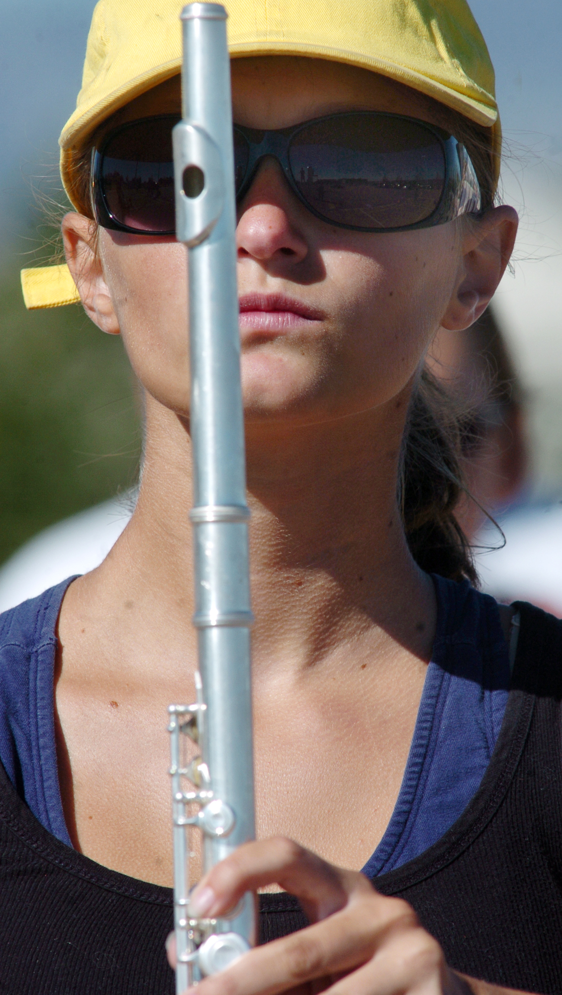 Hannah Wold, Legacy High School band member, steadies her flute while at attention during Saturday's practice at the school.<br /> <br /> September 25, 2010<br /> staff photo/David R. Jennings