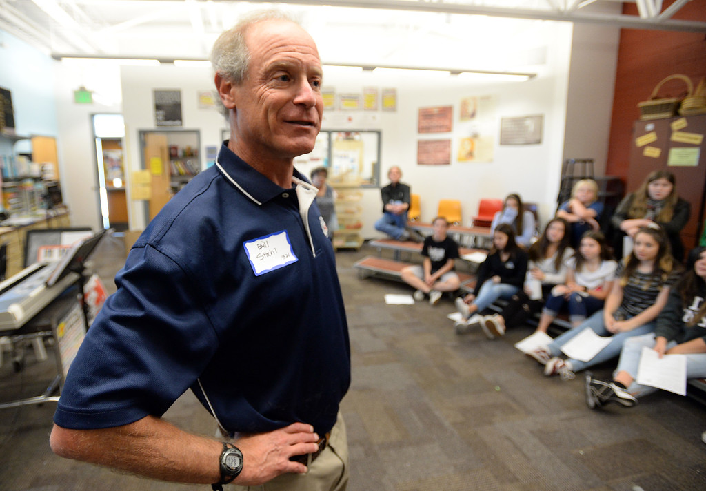 . BROOMFIELD, CO - October 2: Bill Stahl talks about his work on career day.  About 60 speakers talked to sixth, seventh and eighth grade students at Broomfield Heights Middle School for their annual career day.(Photo by Cliff Grassmick/Staff Photographer))