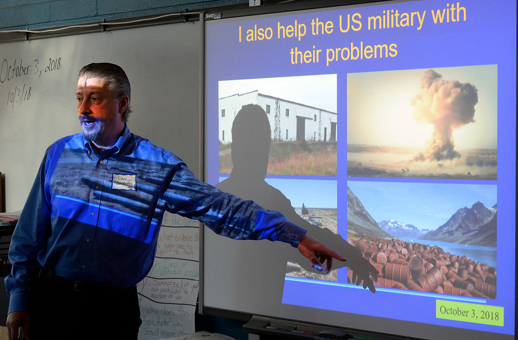 . BROOMFIELD, CO - October 2: Dan Griffiths cleans up giant messes. About 60 speakers talked to sixth, seventh and eighth grade students at Broomfield Heights Middle School for their annual career day.(Photo by Cliff Grassmick/Staff Photographer))