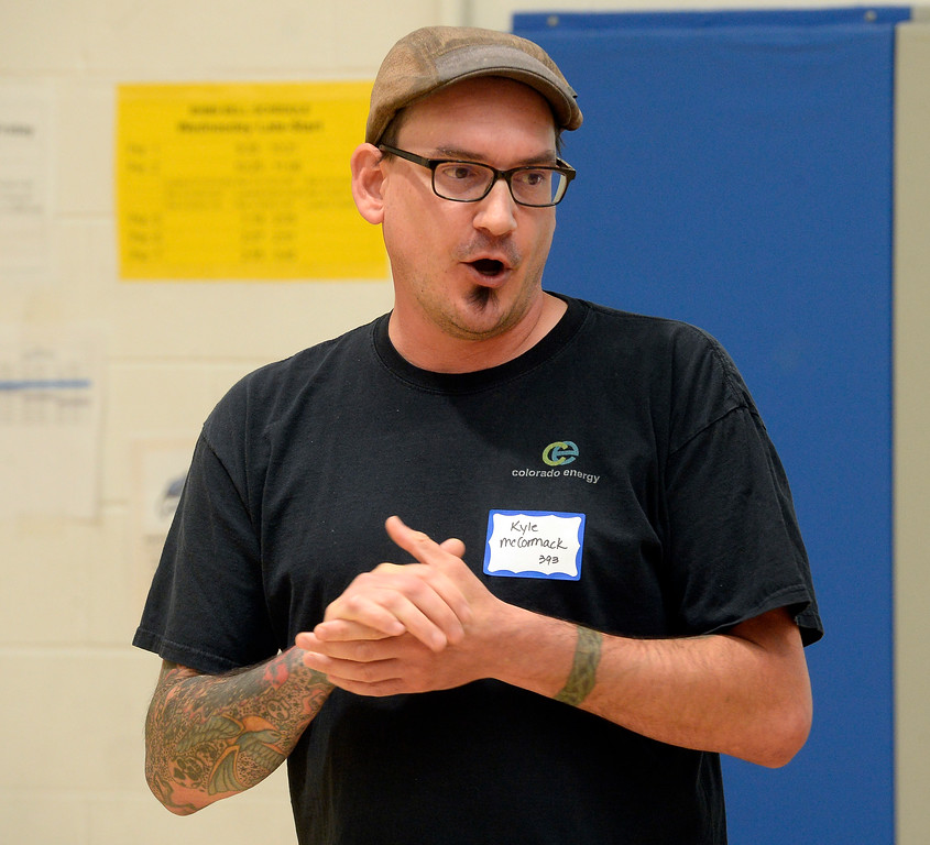 . BROOMFIELD, CO - October 2: Kyle McCormack talks about his job. About 60 speakers talkedto sixth, seventh and eighth grade students at Broomfield Heights Middle School for their annual career day.(Photo by Cliff Grassmick/Staff Photographer))