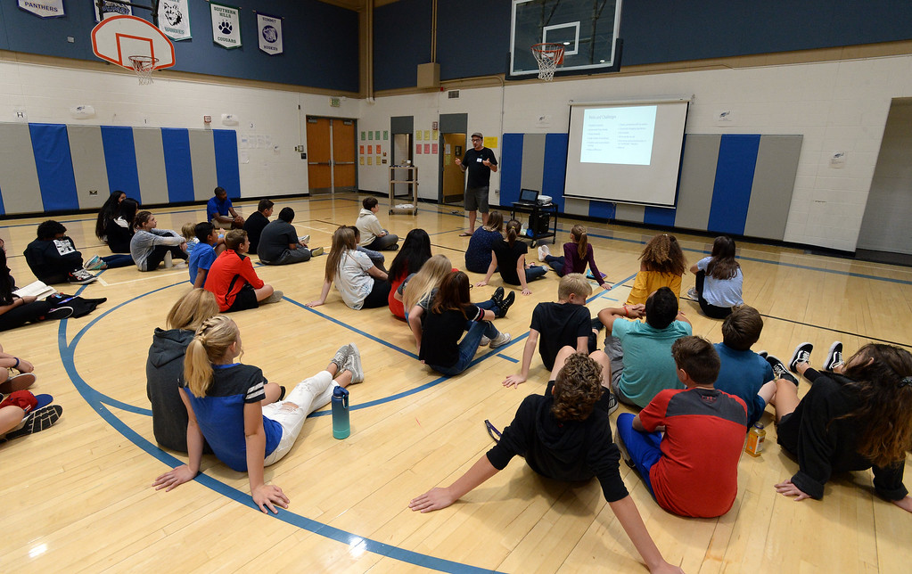 . BROOMFIELD, CO - October 2: Kyle McCormack talks about his job. About 60 speakers talked to sixth, seventh and eighth grade students at Broomfield Heights Middle School for their annual career day.(Photo by Cliff Grassmick/Staff Photographer))