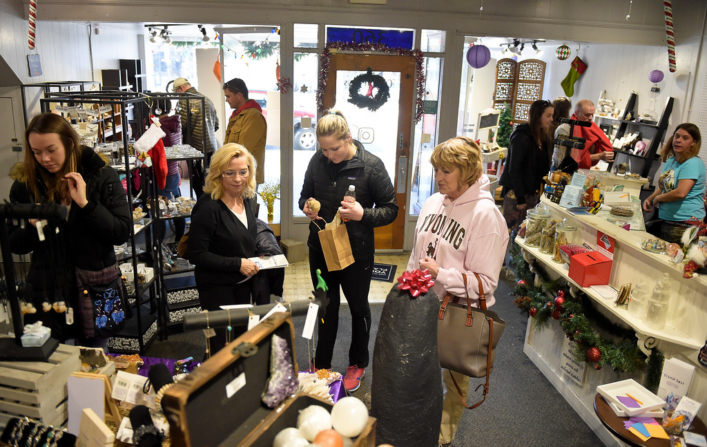 . LONGMONT, CO - NOVEMBER 23: Customers shop at Crystal Joys Nov. 23, 2018. Crystal Joys is located at 340 Main St., Longmont. (Photo by Lewis Geyer/Staff Photographer)