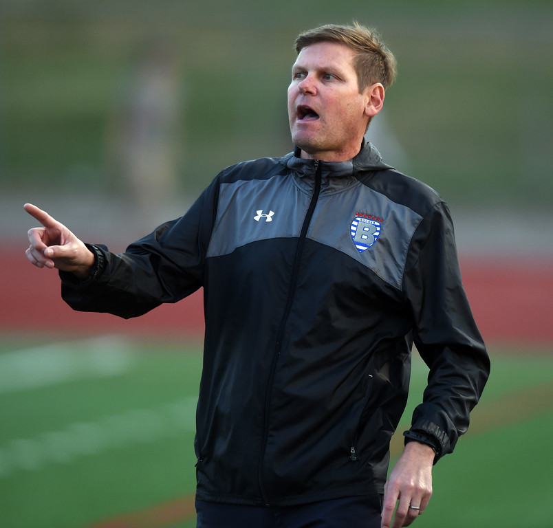 . Broomfield girls soccer coach, Jim Davidson, at the Fairview game. For more photos, go to www.BoCoPreps.com. Cliff Grassmick  Staff Photographer April 18, 2017