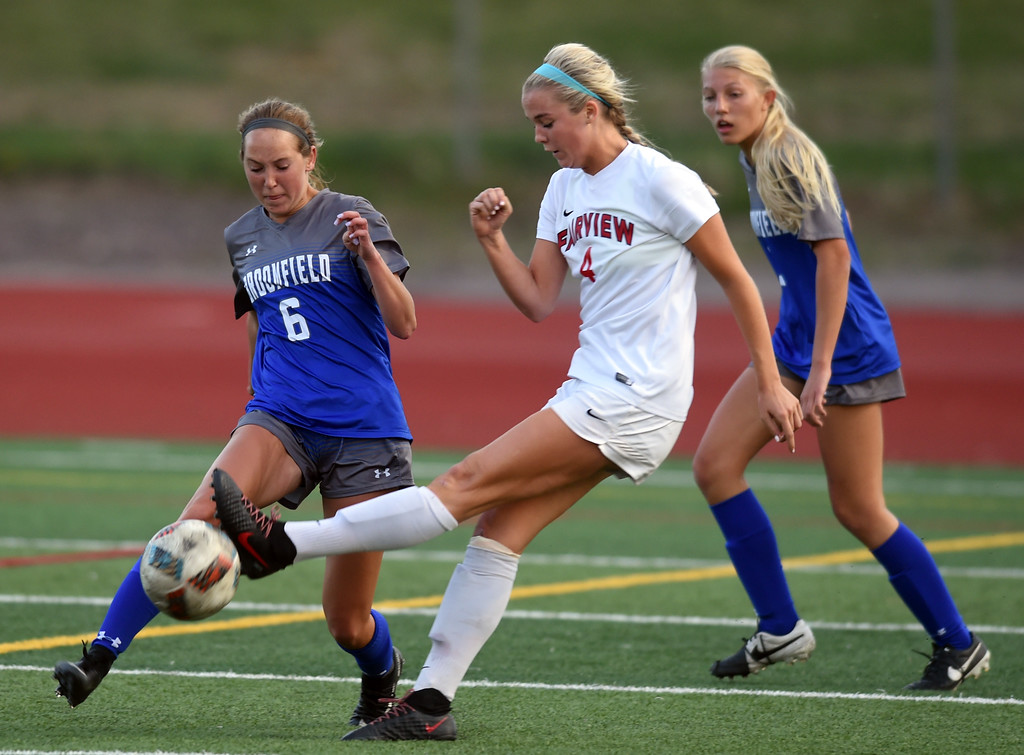 . Tea Smith, left, of Fairview, kicks into the leg of Ashley Tuccio, of Broomfield, on Tuesday. For more photos, go to www.BoCoPreps.com. Cliff Grassmick  Staff Photographer April 18, 2017