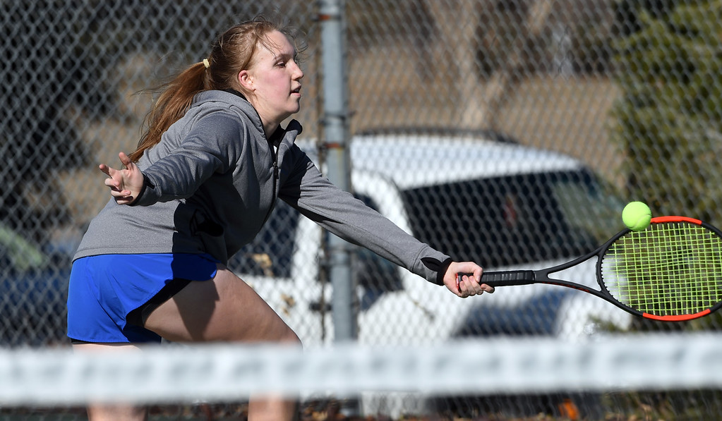 . Ana Horvath, of Broomfield, plays against Paige Giltner, of Holy Family, on March 16, 2018 in Broomfield.  Cliff Grassmick / Staff Photographer/ March 16, 2018