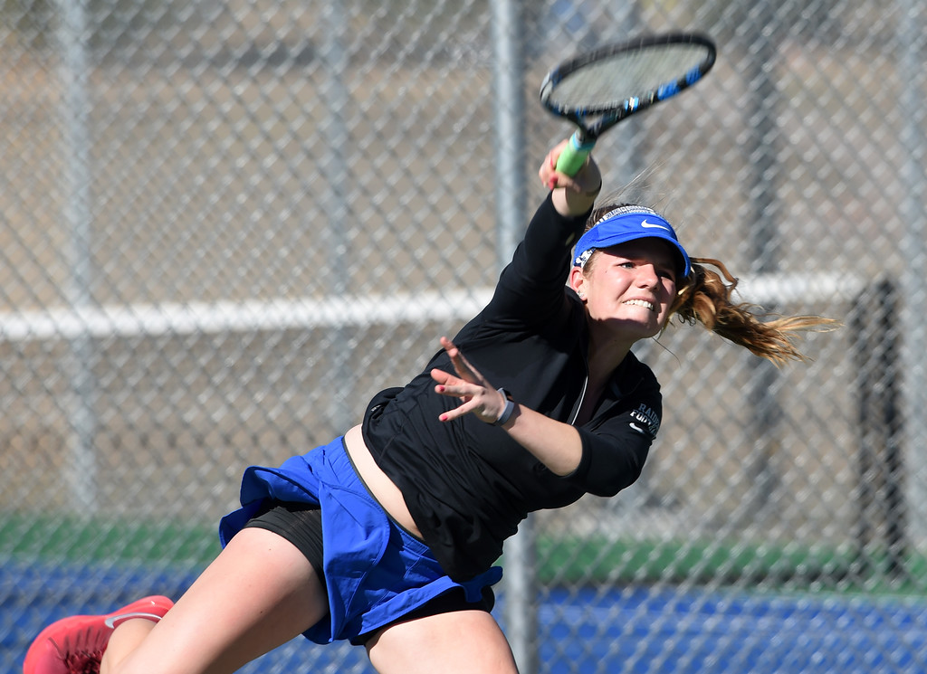 . Katie Herby, of Broomfield, plays against Julia Giltner, of Holy Family,  on March 16, 2018 in Broomfield.  Cliff Grassmick / Staff Photographer/ March 16, 2018