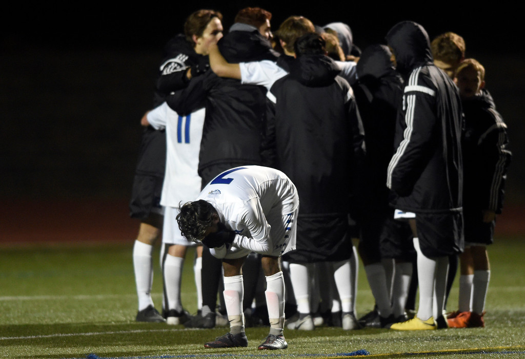 . PARKER, CO - NOVEMBER 7, 2018: Broomfield High School\'s Gustavo Gutierrez shows his emotions after losing a CHSAA 5A semi-final playoff game against Arapahoe High School on Wednesday at Echo Park Stadium in Parker. Broomfield lost 4-3. More photos: BoCoPreps.com