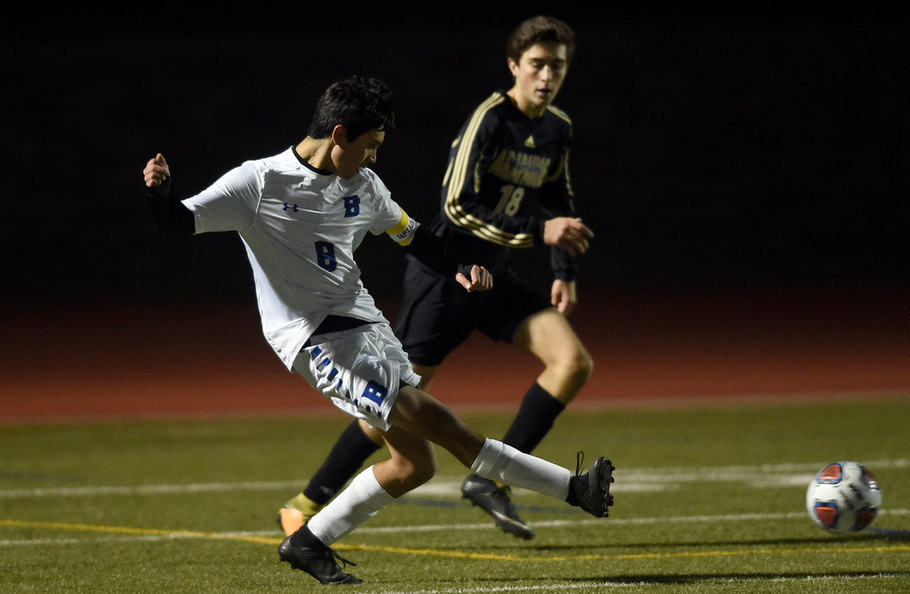 . PARKER, CO - NOVEMBER 7, 2018: Broomfield High School\'s Nathan Dishongh passes the ball during a CHSAA 5A semi-final playoff game against Arapahoe High School on Wednesday at Echo Park Stadium in Parker. Broomfield lost 4-3. More photos: BoCoPreps.com