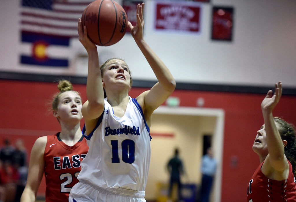 . BOULDER, CO - DECEMBER 4, 2018: Broomfield High School\'s Courtney Wristen goes for a layup during a game against Denver East on Wednesday during the Fairview Festival Tournament at Fairview High School in Boulder. More photos: BoCoPreps.com (Photo by Jeremy Papasso/Staff Photographer)