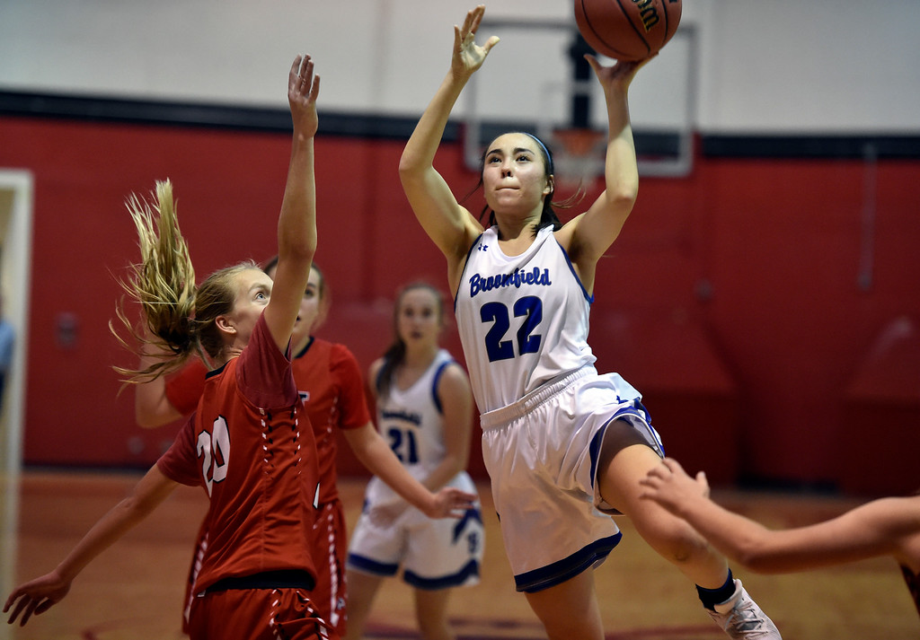 . BOULDER, CO - DECEMBER 4, 2018: Broomfield High School\'s Jessica Hoffman drives to the hoop during a game against Denver East on Wednesday during the Fairview Festival Tournament at Fairview High School in Boulder. More photos: BoCoPreps.com (Photo by Jeremy Papasso/Staff Photographer)