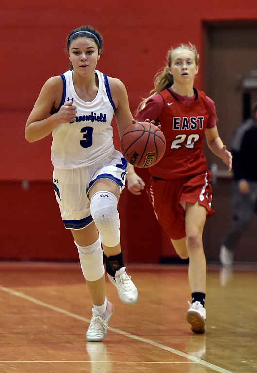 . BOULDER, CO - DECEMBER 4, 2018: Broomfield High School\'s Steph Peterson dribbles down the court during a game against Denver East on Wednesday during the Fairview Festival Tournament at Fairview High School in Boulder. More photos: BoCoPreps.com (Photo by Jeremy Papasso/Staff Photographer)