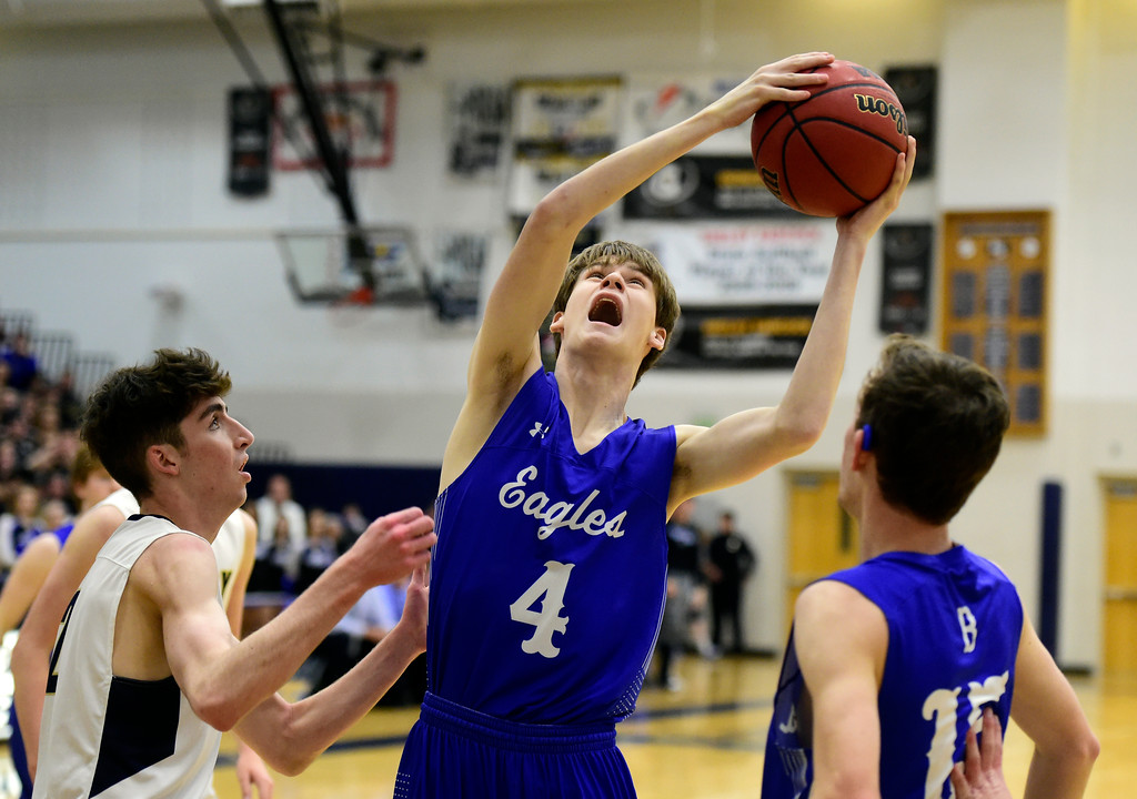 . Broomfield High School\'s Ryan Collins takes a shot during a game against Legacy on Tuesday in Broomfield. More photos: BoCoPreps.com Jeremy Papasso/ Staff Photographer 02/06/2018
