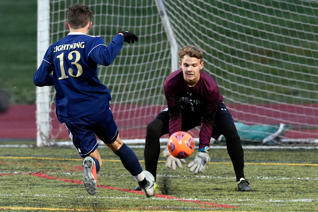 . WESTMINSTER, CO - OCTOBER 9, 2018: Broomfield High School goalkeeper  during a game against Legacy on Tuesday at the North Stadium in Westminster. More photos: BoCoPreps.com (Photo by Jeremy Papasso/Staff Photographer)