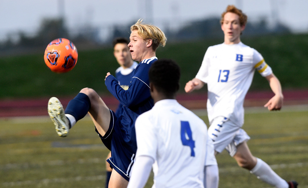 . WESTMINSTER, CO - OCTOBER 9, 2018: Legacy High School\'s Jordan Swinhart stops the ball during a game against Broomfield on Tuesday at the North Stadium in Westminster. More photos: BoCoPreps.com (Photo by Jeremy Papasso/Staff Photographer)
