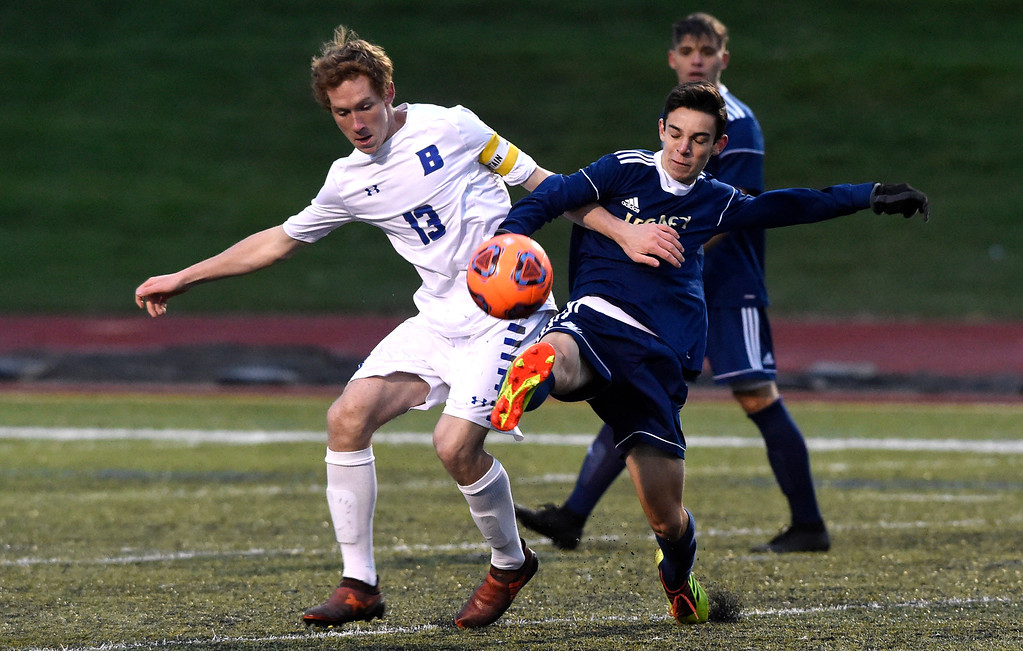 . WESTMINSTER, CO - OCTOBER 9, 2018: Broomfield High School\'s Tanner Smith fights for the ball with Logan Scheller during a game against Legacy on Tuesday at the North Stadium in Westminster. More photos: BoCoPreps.com (Photo by Jeremy Papasso/Staff Photographer)