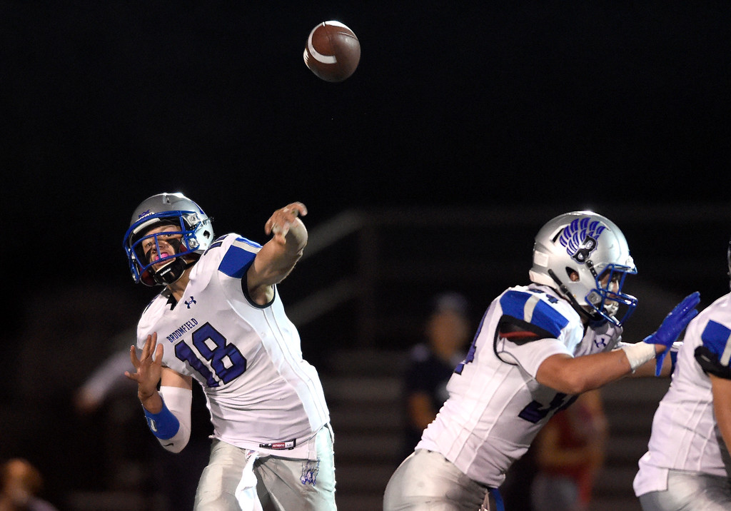 . LAFAYETTE, CO - SEPTEMBER 21, 2018: Broomfield High School\'s Steven Croell completes a pass during a game against Monarch on Friday at Centaurus High School in Lafayette. More photos: BoCoPreps.com (Photo by Jeremy Papasso/Staff Photographer)