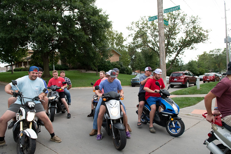 Cooper Imthurn, express how riding mopeds with his fellow fraternity brothers, has made them closer. Oct 3, 2019. (Dylan Connell | Collegian Media Group)