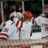 (Wednesday February 27th 2014 - St. Mary's Prep Orchard Lake, MI - Athletic Complex) Saint Mary's #9 Kyle Kassa and #17 Danny Tinsman celebrate the win over Brother Rice with #31 goalie Will Ulrich. Photo by: Brian B. Sevald