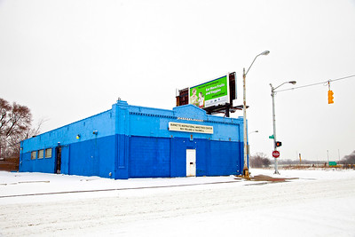 The Blue Painted Church in a winter snow