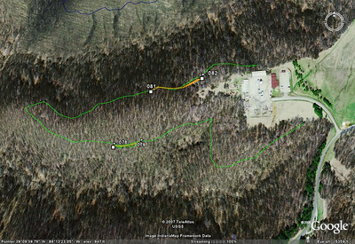The green GPS'ed track is one mile long.  Markers 78-79 represent the 160' completed Jan 4th, 81-82 is the 320' completed Jan 11th.