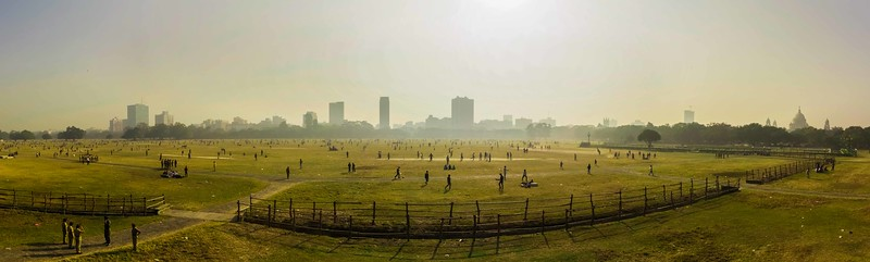 ~~ Cricket Crazy~~ Location: Ground near Victoria Memorial (visible on right), Kolkata, India.  Hundreds of people playing cricket in maidan near Victoria memorial. Concept credit goes to Pradeep mama who made me climb the machan for the shot.