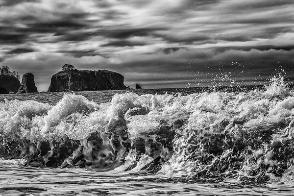 ~~ Attack of the Waves ~~  Beautiful high waves on the Rialto (Pebble) beach in Olympic National Park with sea stacks in the background.