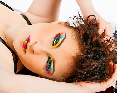 Anna Brown Modelling rainbow makeup by Karen Salandy.