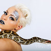 Jessica DNA Skeggs with python snake, make up by Karen Salandy.