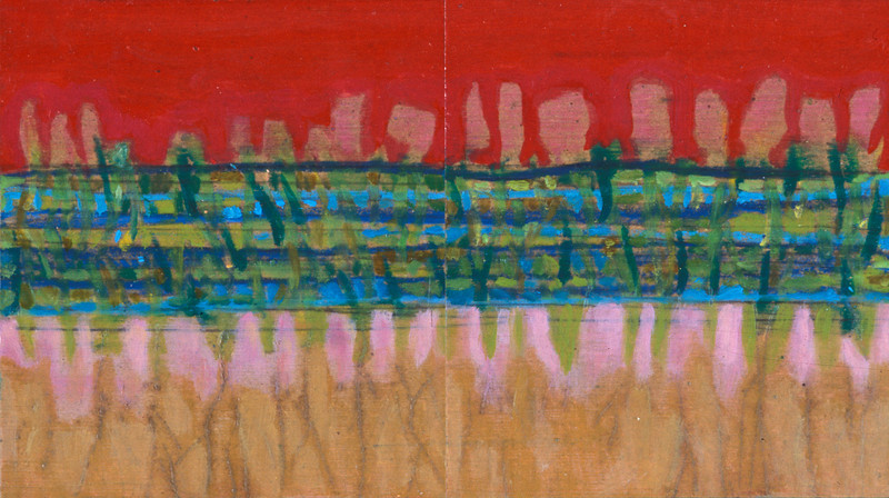 Landscape Diptych Red