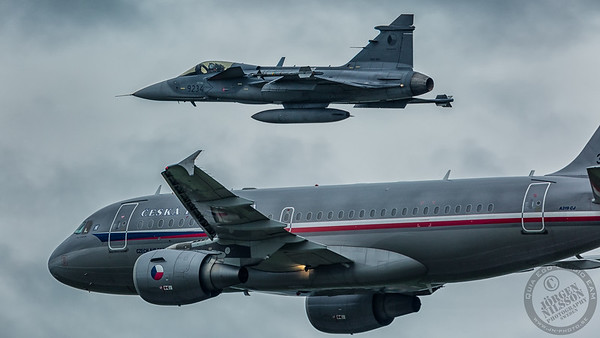 SAAB 39C Gripen and Airbus A319 CJ