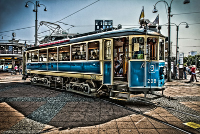 Old style tram, Gothenburg, Sweden.