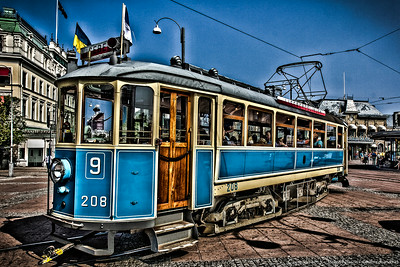 Old style tram, Gothenburg, Sweden.