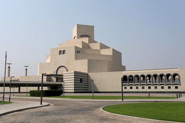 Doha / Qatar – October 10, 2018: The distinctive shape of the Museum of Islamic Art in Doha, Qatar, designed by architect I M Pei.