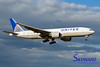 United Airlines Boeing 777 on approach to land. Tokyo Narita Airport