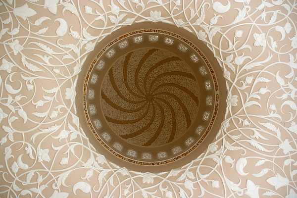 Looking up into one of the 82 domes of Sheikh Zayed mosque, Abu Dhabi - AE016