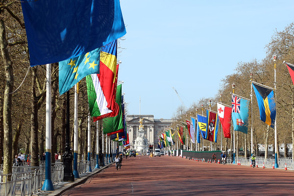 The flags of Commonwealth member states on display on The Mall in central London, with Buckingham Palace in the background, on the occasion of the Commonwealth Heads of Government meeting in the UK capital, on 18 April 2018