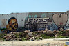 Graffiti picture of Marwan Bhargouti on the separation wall between Israel and the West Bank, at the Qalandia checkpoint  - PS011