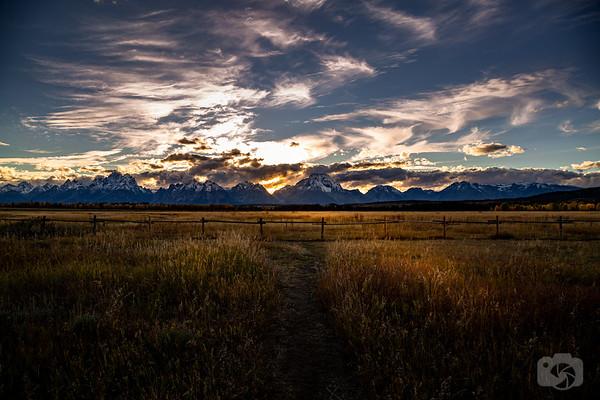 Sunset Behind The Tetons