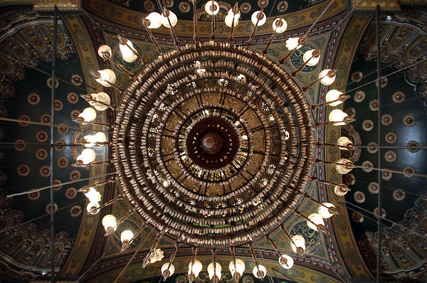 The main chandelier in Mohammed Ali Pahsa mosque in Cairo, Egypt