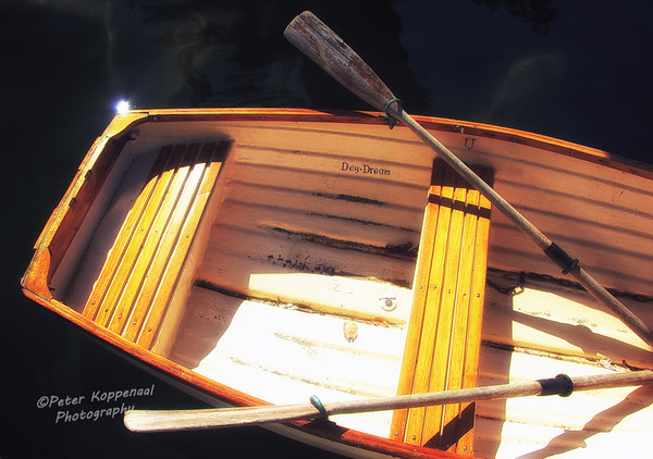 A golden lacquered wooden row boat with oars in their locks.  A glint of sunlight is reflecting off the surface of the dark waters below.