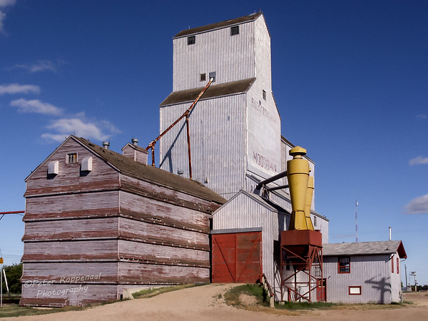 A rectangular silver grain elevator in Moosomin, Saskatchewan, Canada, with a blue sky in the background, and several  attatched wooden buidings in the foreground with a yellow and red  grain hopper.