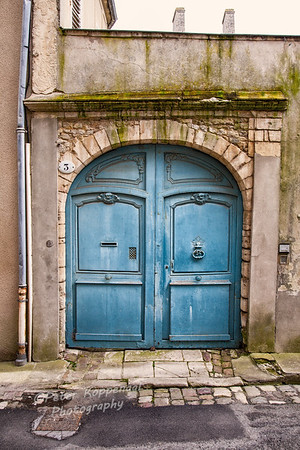 Blue French Courtyard Doors