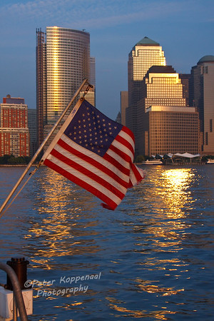 Flag and Lower Manhattan