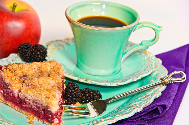 Pie and coffee break.  Apple Berry crumb crust pie.
