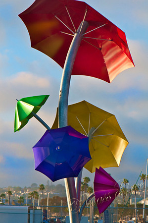 Umbrellas at The Embarcadero in San Diego, California, USA