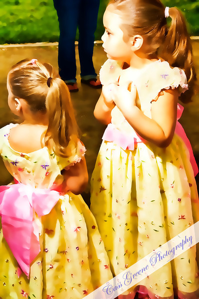 Sisters with their pretty dresses and pony tails.