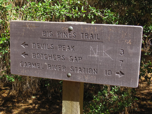 The very well signed Big Pines  / Ventana Trail Junction.