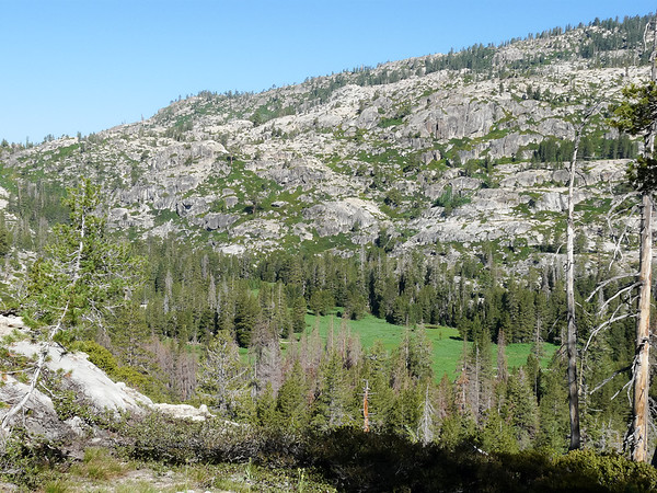 Saturday, July 17.  Heading out.  A look down to Piute Meadow.