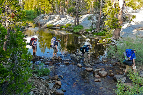 The ford at Piute Meadow -- a fairly easy rock-hop.