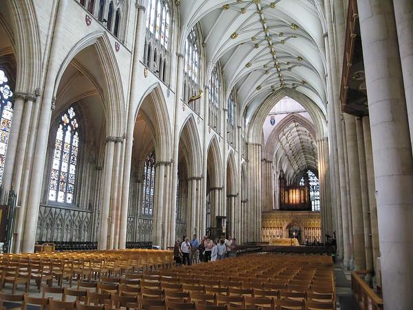 Inside, York Minster has an amazing feel of lightness.